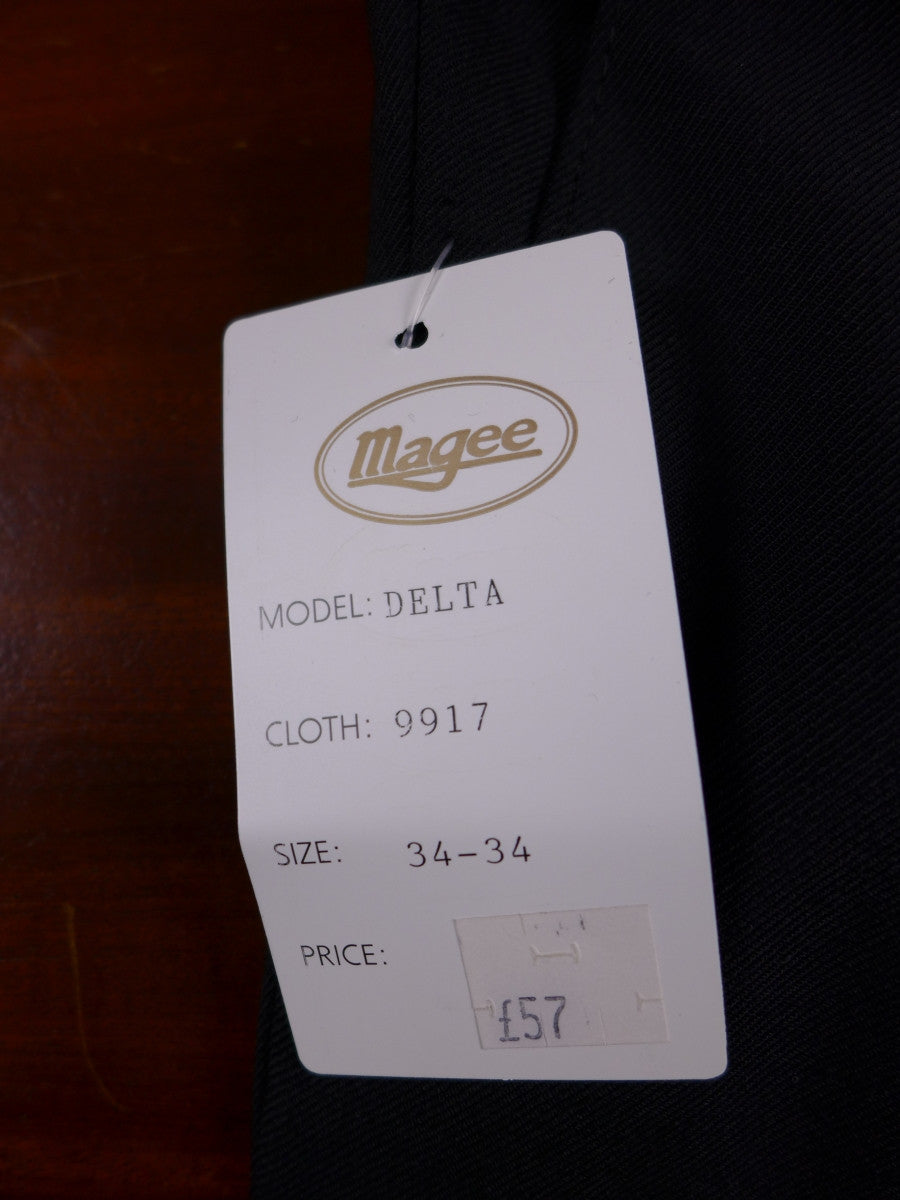 17/0328 new w/tags magee black wool mix trouser w/ belt 34 long