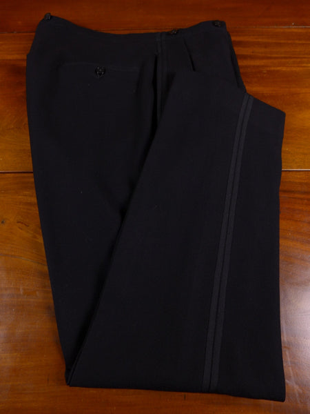 17/0377 near immaculate 1950s vintage black barathea twin-stripe evening tailcoat trouser 36 regular
