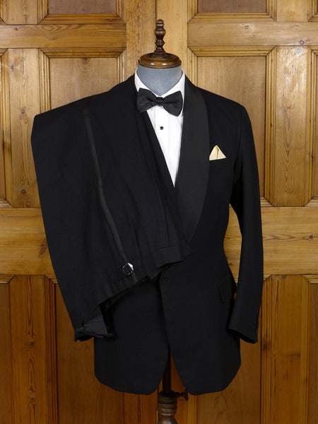 17/0560 vintage savile row bespoke black barathea 3-piece dinner suit 39-40 regular to long