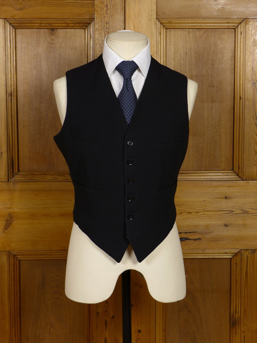 17/0410 vintage 1950s black herringbone wool morning waistcoat 39 short