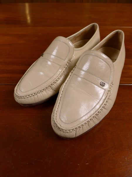 17/0546 (pt) vintage barker cream leather loafer slip-on shoe uk 8.5 g