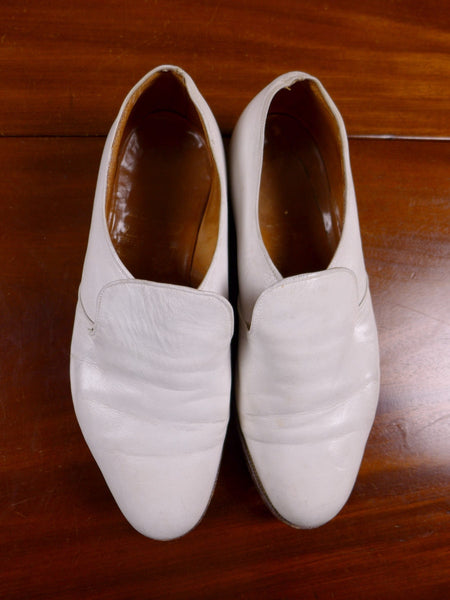 17/1310 (dc) vintage john lobb bespoke cream white slip-on casual / summer shoe uk 9F