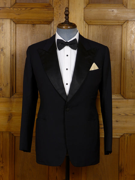 17/0417 vintage bernard weatherill savile row bespoke midnight blue herringbone barathea dinner jacket 38-39 short