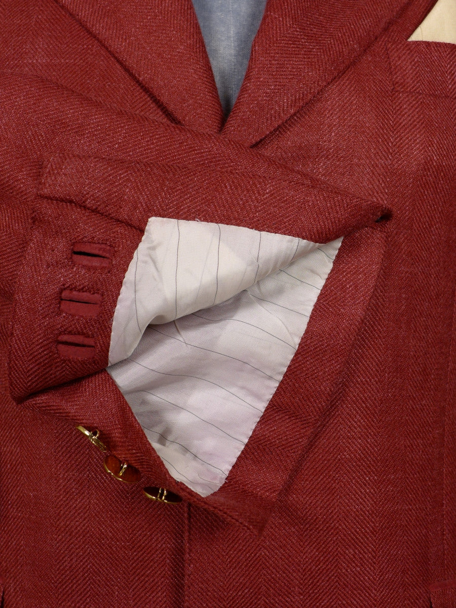 17/0440 (dc) stunning santarelli sartoria wool silk & linen red herringbone sports jacket blazer 43 short