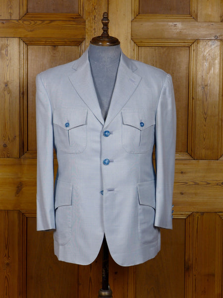 17/0437 (dc) stunning santarelli sartoria aqua blue lightweight silk & wool sports jacket blazer 42-43 short