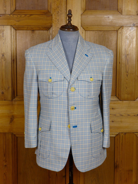 17/0446 (dc) stunning santarelli sartoria blue / green check luxury wool sports jacket blazer 42-43 short