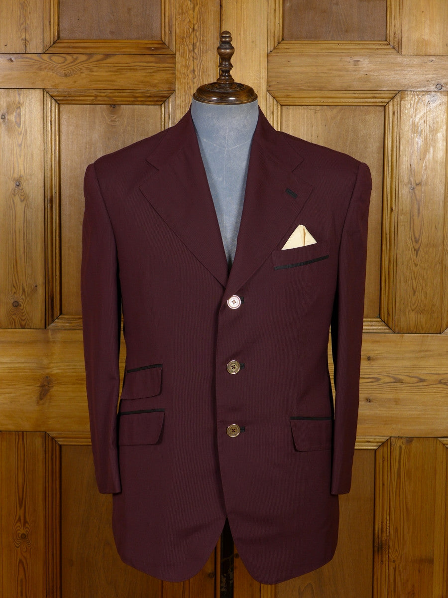 17/0449 (dc) stunning santarelli sartoria zegna 100% silk burgundy red sports jacket blazer 42 short