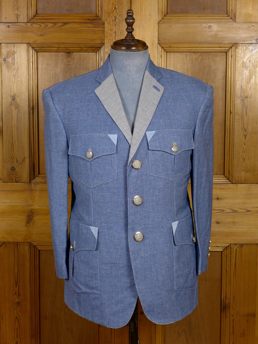 17/0452 (dc) stunning santarelli sartoria pale blue check wool linen & silk sports jacket blazer 43 short