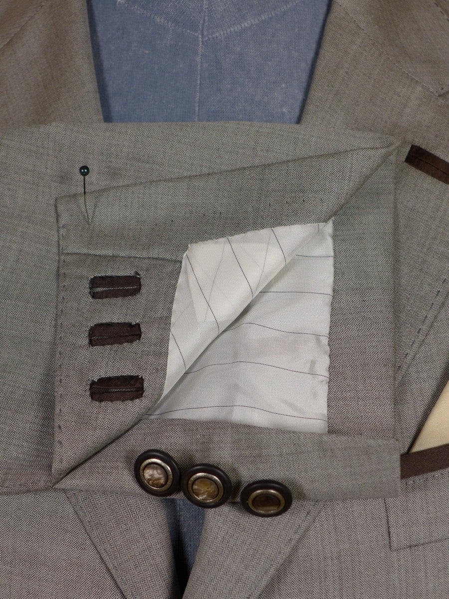 17/0509 (dc) stunning santarelli sartoria lightweight wool & silk taupe grey & brown sports jacket blazer 42-43 short