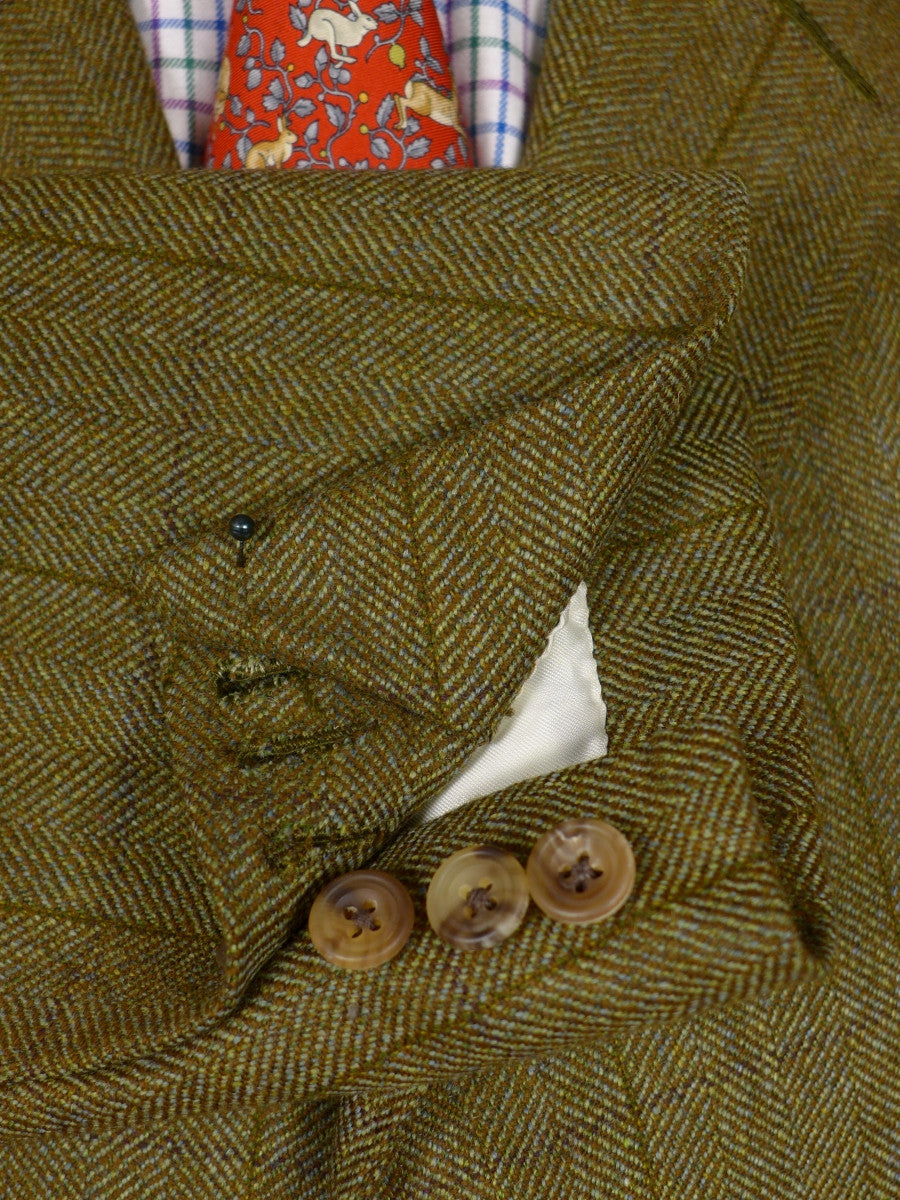 17/0467 (dc) immaculate 2004 henry poole savile row bespoke green wp check tweed suit 42 short