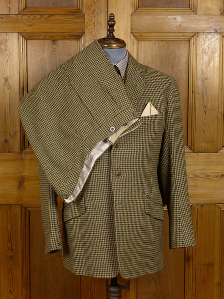 17/0470 (dc) vintage 1963 mayfair bespoke green & brown houndstooth heavyweight 3-piece tweed suit 41 regular to long