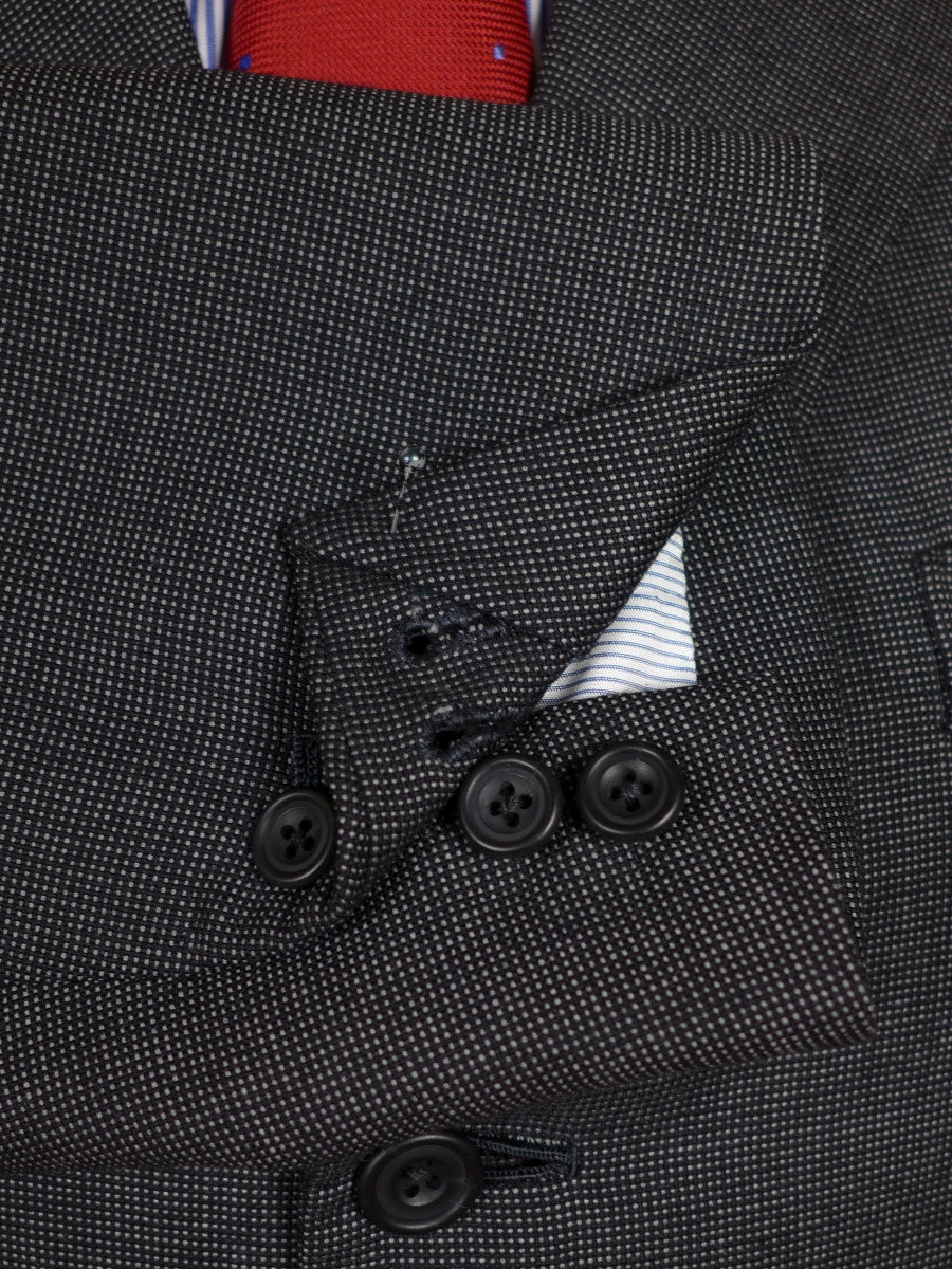 17/0476 (dc) immaculate gieves & hawkes 1999 savile row bespoke charcoal grey nailhead weave worsted suit 42 short