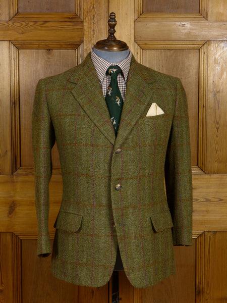 17/0489 vintage anderson & sheppard 1997 savile row bespoke green wp check tweed jacket 42 short
