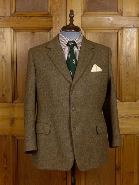 17/0493 (dc) anderson & sheppard savile row bespoke brown donegal weave tweed jacket 44 short