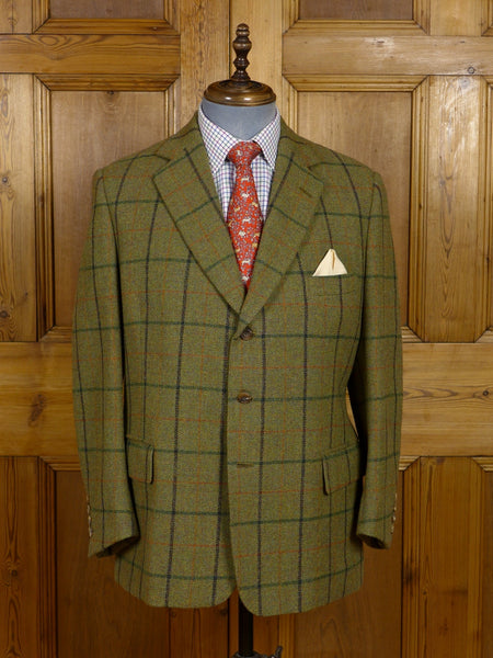 17/0495 (dc) immaculate henry poole 1994 savile row bespoke heavyweight green wp check tweed jacket 42 short