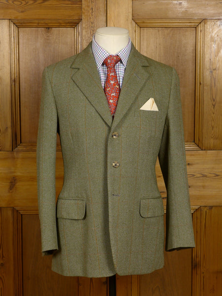17/0501 vintage welsh & jefferies savile row bespoke green wp check tweed jacket 38 short