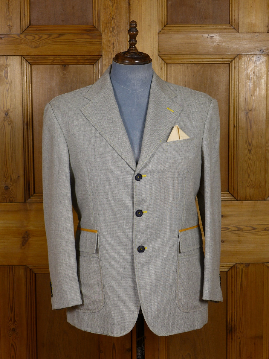 17/0511 (dc) stunning santarelli sartoria silk linen & wool grey / gold sports jacket blazer 42 short