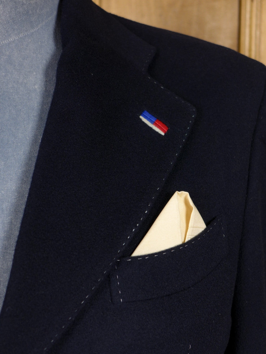 17/0515 (dc) stunning santarelli sartoria 100% cashmere navy blue sports jacket blazer w/ tricolour trims 42-43 short