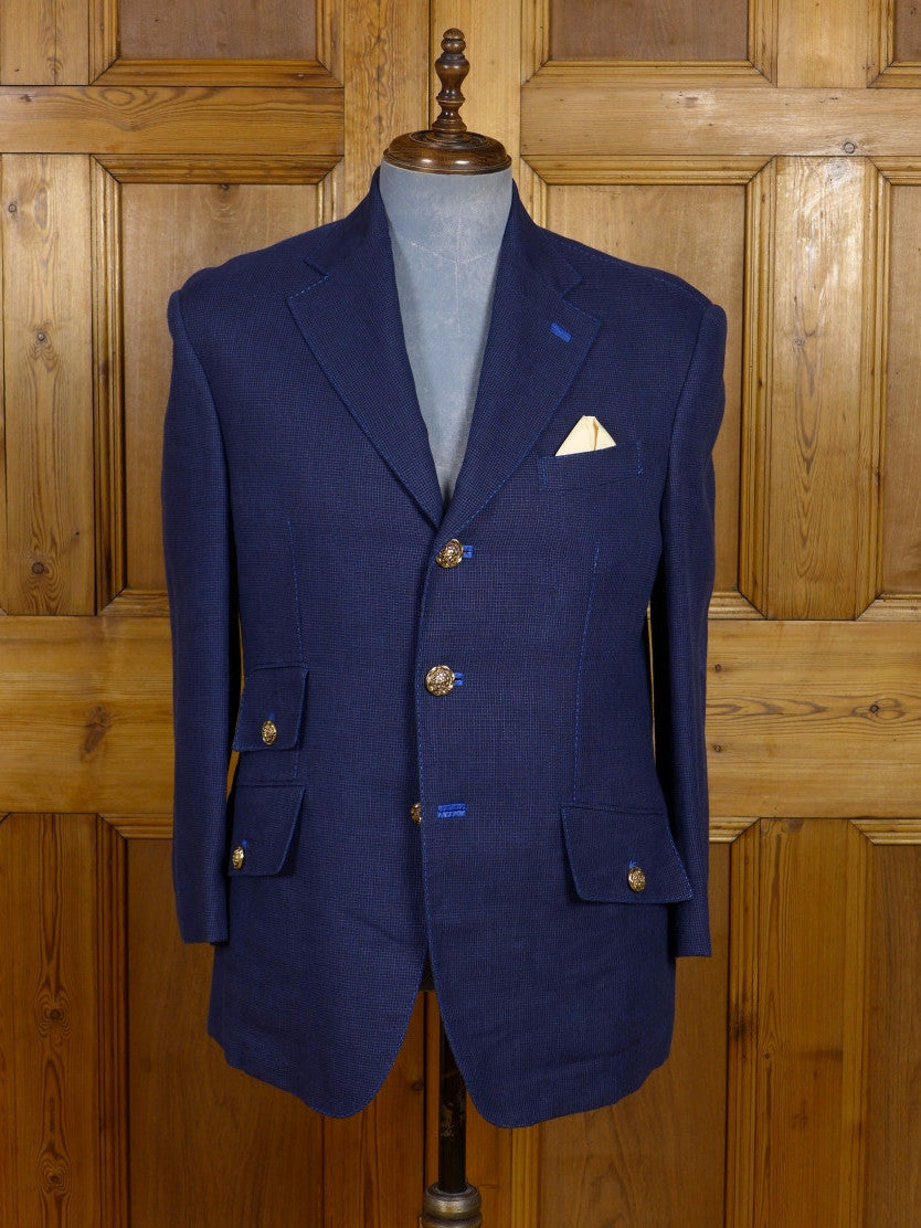 17/0521 (dc) stunning santarelli sartoria drapers wool & linen navy blue sports jacket blazer 42-43 short