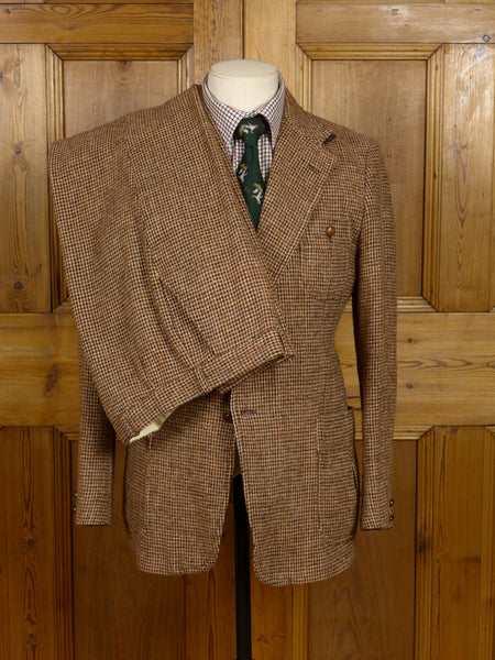 17/0527 (pt) wonderful 1980s vintage brown check harris tweed suit 39 short