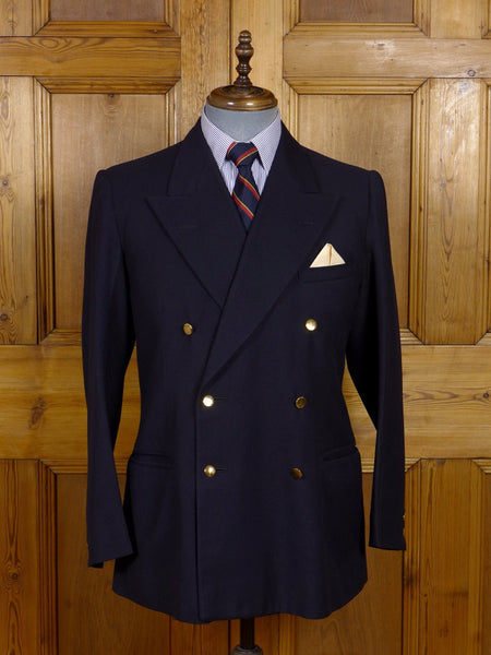 17/0535 vintage 1950 savile row bespoke navy blue worsted d/b blazer 40-41 regular