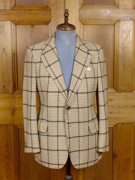 17/0548 (pt) vintage daks 100% cashmere beige / brown wp check sports jacket 40 regular