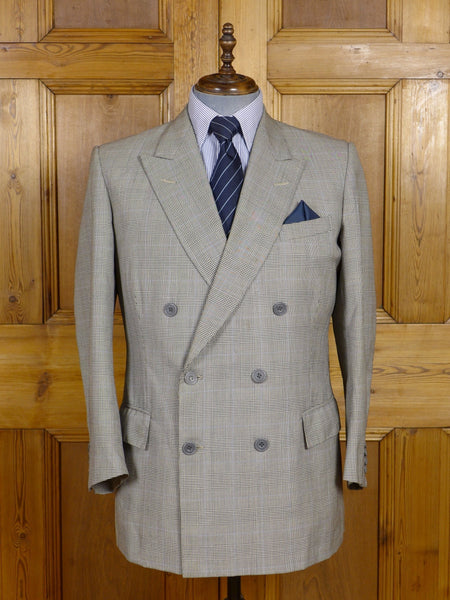 17/0567 vintage gieves & hawkes savile row bespoke grey / blue prince of wales check worsted suit jacket blazer 43 short to regular