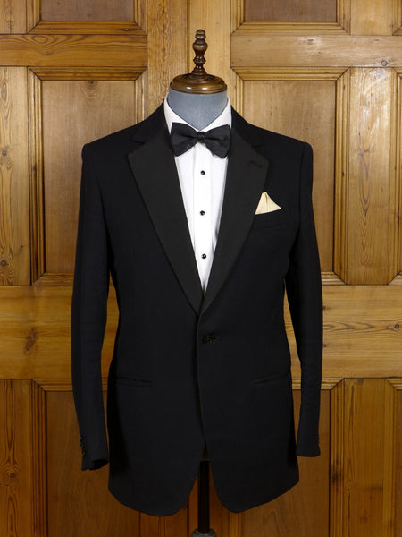 17/0559 vintage savile row bespoke black barathea / grosgrain notch dinner jacket 40 regular