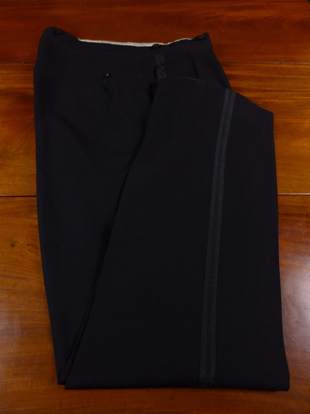 17/0566 vintage 1950s tailored black worsted high-rise evening trouser 38 long