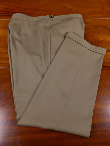 17/0574 vintage bespoke tailored olive green superfine wool twill trouser 40 short to regular