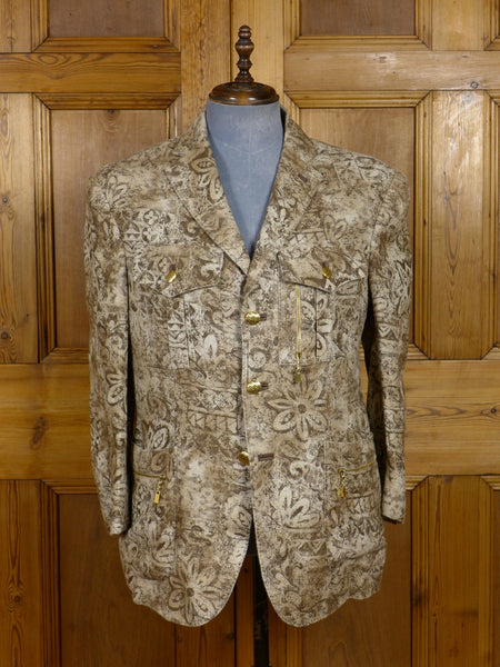 17/0599 (dc) stunning santarelli sartoria 100% linen beige / brown flowered sports jacket blazer 42 short