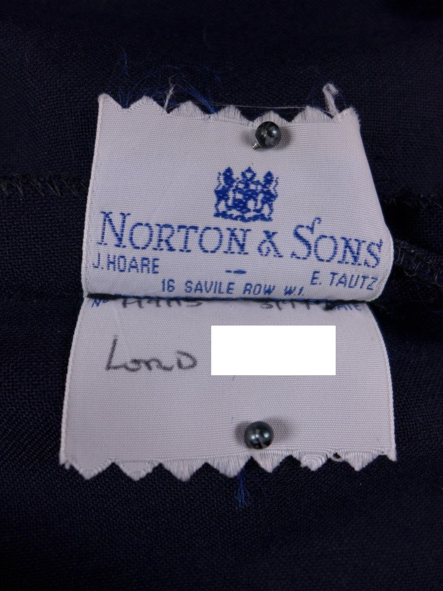 17/0586 vintage norton & sons 1997 savile row bespoke blue worsted trouser 37 short