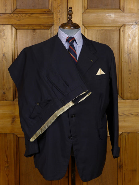 17/0590 vintage savile row bespoke dark navy blue mohair suit w/ gauntlet cuff 48-49 regular
