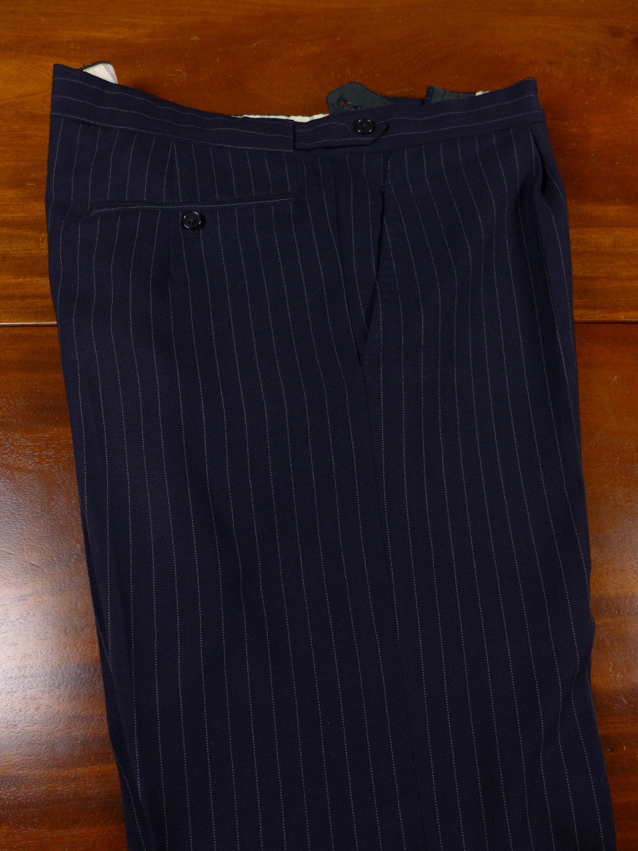 17/0591 vintage city of london bespoke heavyweight navy blue pin-stripe worsted city suit 44 short to regular