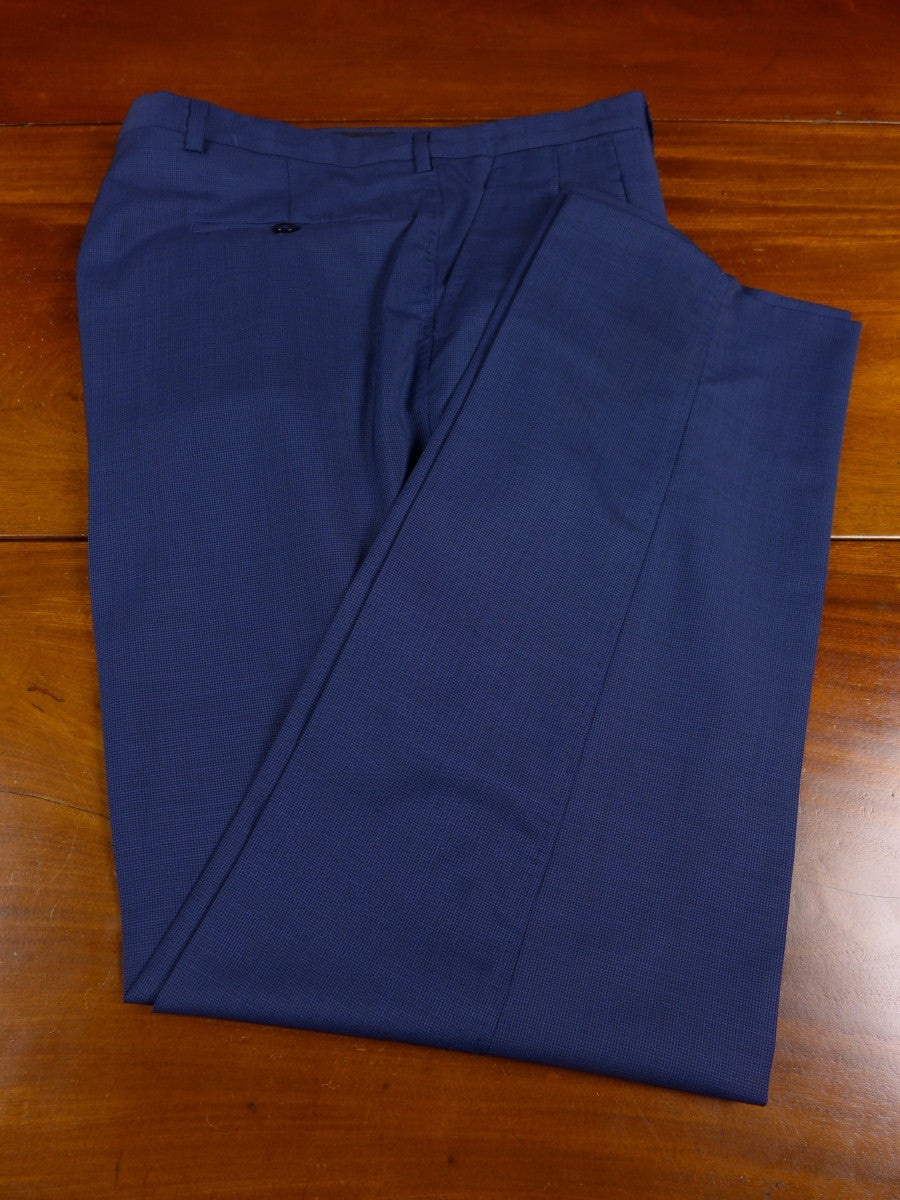 17/0605 santarelli sartoria 2013 tailored luxury wool blue fine check trouser 35 short regular