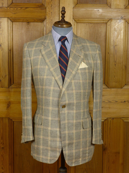 17/0623 (pt) immaculate huntsman savile row 100% linen glen plaid check slim-fit  sports jacket  40 Regular