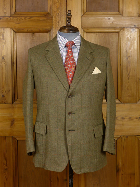 17/0628 vintage savile row bespoke green windowpane check tweed jacket 42 short