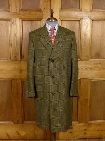 17/0634 near immaculate vintage heavyweight tailored green / brown glen check worsted twist overcoat 41-42 regular
