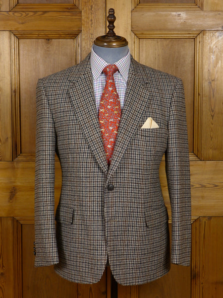 17/0645 (pt) near immaculate crombie beige / brown houndstooth check tweed sports jacket 41 short