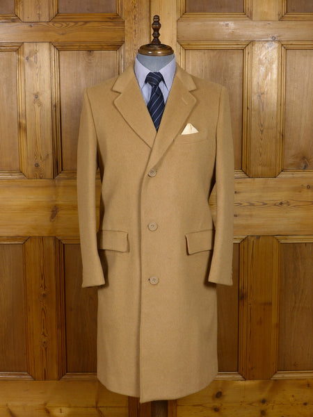 17/0651 (pt) near immaculate vintage john kent savile row wool & cashmere camel crombie-style coat overcoat 40 short