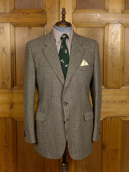 17/0656 (pt) near immaculate crombie brown houndstooth check tweed sports jacket 45 long