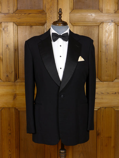17/0660 vintage london tailored black barathea / silk notch dinner jacket 44 long