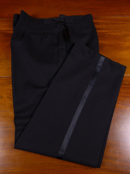 17/0853 (pt) immaculate vintage city of london tailored black barathea wool evening trouser 40 short regular