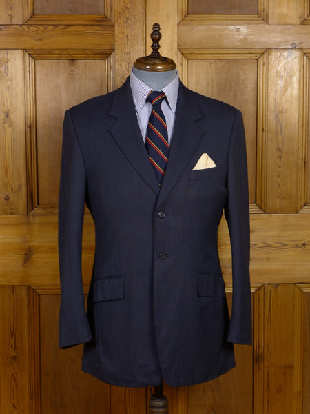 17/0669 immaculate 1996 norton & townsend bespoke blue nailhead weave suit jacket blazer 40-41 regular to long