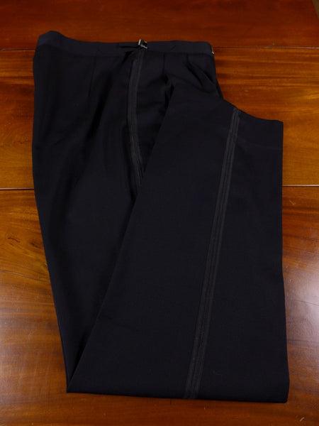 17/0689 immaculate hong kong tailored black superfine wool evening trouser 34 regular long