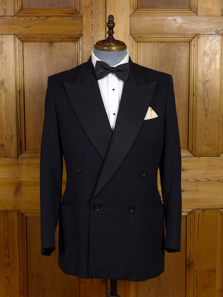 17/0790 vintage 1950s black herringbone barathea d/b dinner jacket 38 regular
