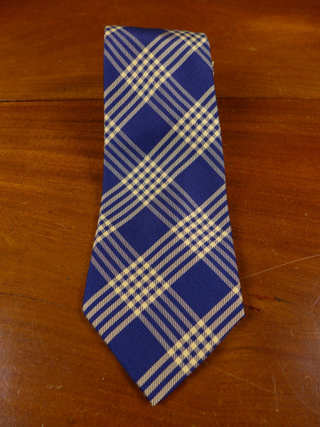 17/0676 immaculate gieves & hawkes savile row blue / gold tartan silk tie