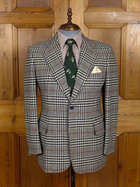 17/0693 (pt) immaculate vintage crombie glen check saxony tweed sports jacket 41-42 short to regular