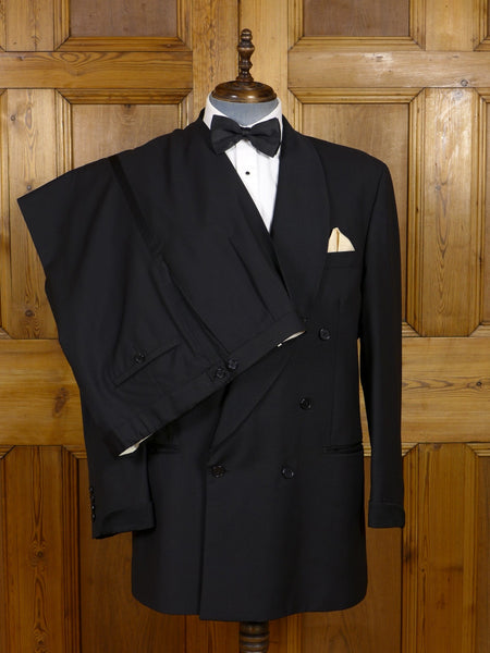 17/0692 daks signature wool & 15% mohair black shawl dinner suit 47 regular to long
