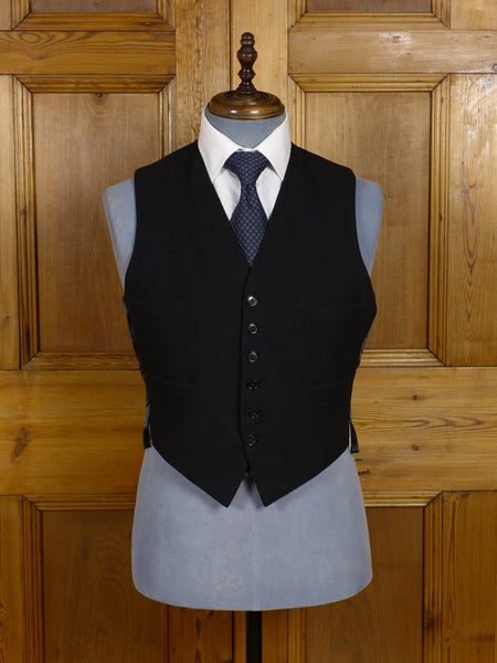 17/0786 vintage 1940s 1950s black herringbone wool morning waistcoat 41 short